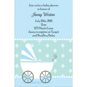 Cute Stroller Baby Shower Invitation - Blue