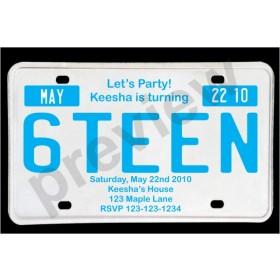 Sweet 16 License Plate Birthday Invitation - Blue