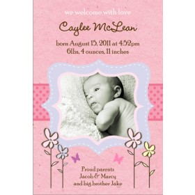 Precious Pink Girl Photo Birth Announcement Card