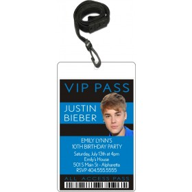 Justin Bieber VIP Pass Invitation with Lanyard