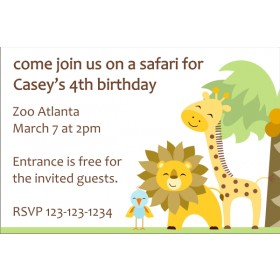 Jungle Baby Shower Invitation - Giraffe, Lion, Bird
