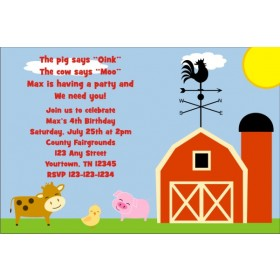 Barnyard Farm Animals Invitation