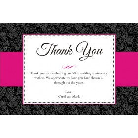 Sophisticated Floral Thank You Card - Choose Color