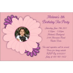 Pretty Pink and Purple Flowers Photo Party Invitation