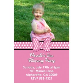 Pink Bow Photo Invitation (Similar to Minnie Mouse)