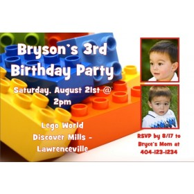 LEGO Building Blocks Photo Invitation