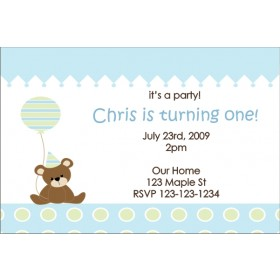 Teddy Bear with Balloon Invitation 2