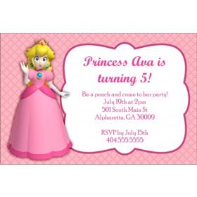 Princess Peach Birthday Party Invitation - Super Mario