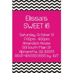 Chevron Stripes Birthday Invitation - Choose your colors