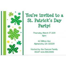 St. Patrick's Day Party Invitation - Shamrocks n Stripes