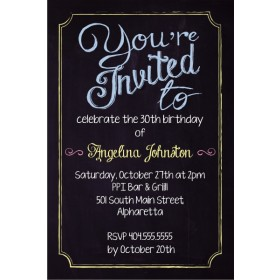 You're Invited Chalkboard Style Party Invitation - Custom Colors