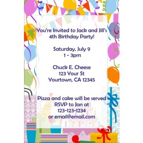 Birthday Party Invitations (Balloon Border)