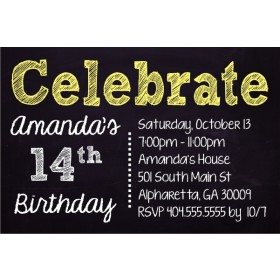 Celebrate Chalkboard Style Birthday Invitation - Custom Colors