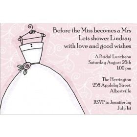 Delightful Dress Bridal Shower Invitation Pink