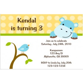 Hippo and Birdie Invitation