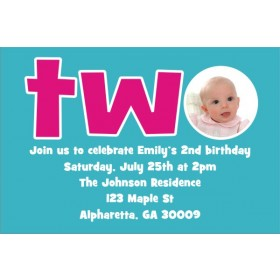 2nd (TWO) Birthday Photo Invitation  - ALL COLORS