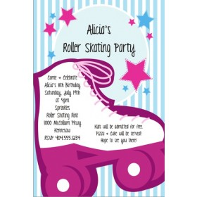 Girly Pink Roller Skating Party Invitation