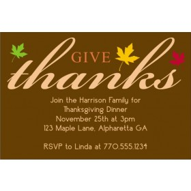 Give Thanks Fall Autumn Thanksgiving Card Invitation