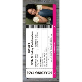 Photo Boarding Pass Party Invitation - Select Color