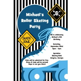 Boyish Blue Roller Skating Party Invitation