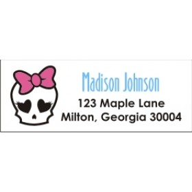 Monster High Inspired Girly Skull Return Address Labels