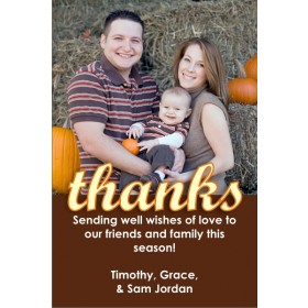 Thankful Script Thanksgiving Fall Autumn Photo Card