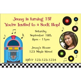 1950s Retro Jukebox Sock Hop Invitation with Optional Photo