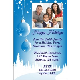 Winter Blue Christmas Holiday Photo Card Invitation