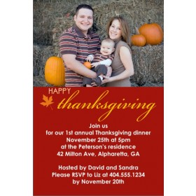 Happy Thanksgiving Fall Autumn Photo Card Invitation