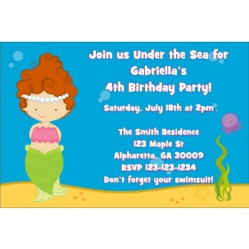 Mermaid Birthday Invitation (Customizable Mermaid)