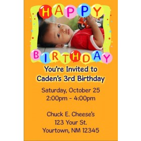 Happy Birthday Balloons Photo Invitation