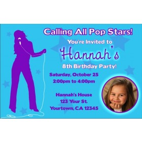 Pop Star Diva Photo Invitations