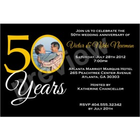 50 Years 50th Wedding Anniversary Photo Invitation