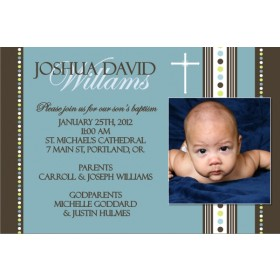Communion / Baptism Photo Invitation 6 - Blue