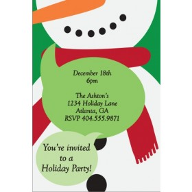 Festive Snowman Christmas Holiday Party Invitation