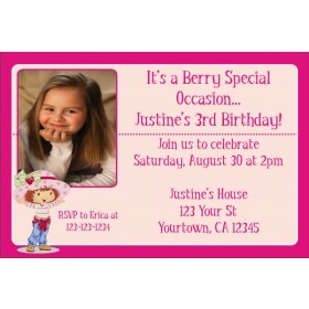 Strawberry Shortcake Photo Invitations