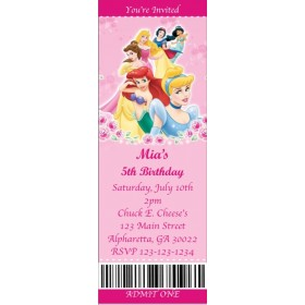 Disney Princess Ticket Style Invitations (slim style)