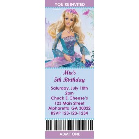 Barbie Princess Ticket Style Invitations (slim style)