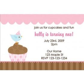 Cupcake Birdie Invitation