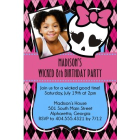 Monster High Inspired Girly Skull Invitation - Photo