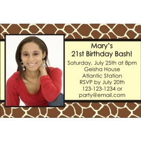 Giraffe Animal Print Photo Invitation (ALL COLORS)