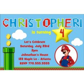 Super Mario Brothers Mario And Luigi Photo Invitation Personalized