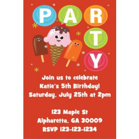 Ice Cream and Popsicles Party Invitation