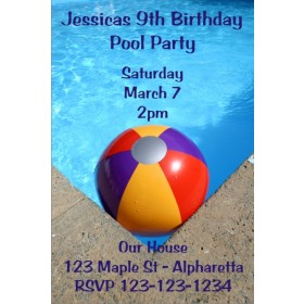 Pool Party Invitations - Beach Ball