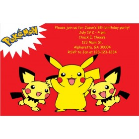 Pokemon Invitations - Pikachu Red