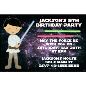 Star Wars Inspired Jedi Invitation -Dark Hair