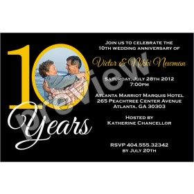 10 Years 10th Wedding Anniversary Photo Invitation