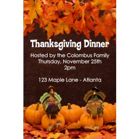 Two Turkeys Thanksgiving Fall Autumn Dinner Invitation
