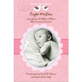 Little Birds Pink Girl Photo Birth Announcement Card