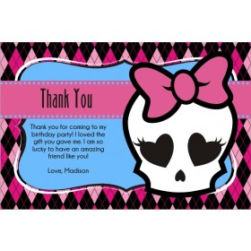 Monster High Inspired Girly Skull Thank You Card